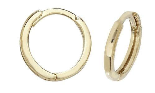 9ct Yellow Gold Huggie Hoop Small Earrings Hinged 10mm British made Hallmarked